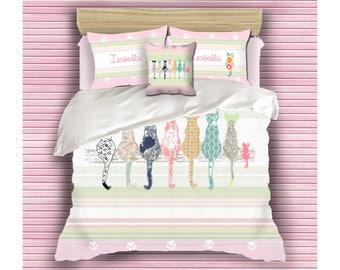 girls duvet cover, cat bedding, custom bedding, teen bedding, little girl bedding, cat duvet cover, queen duvet, kids bedding, girls bedding