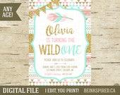 Girl Tribal Invitation, Wild One Birthday Invitation, Wild One Party Invitation, Girl Wild One, Pink Mint Gold Glitter, OLIVIA, DIGITAL FILE