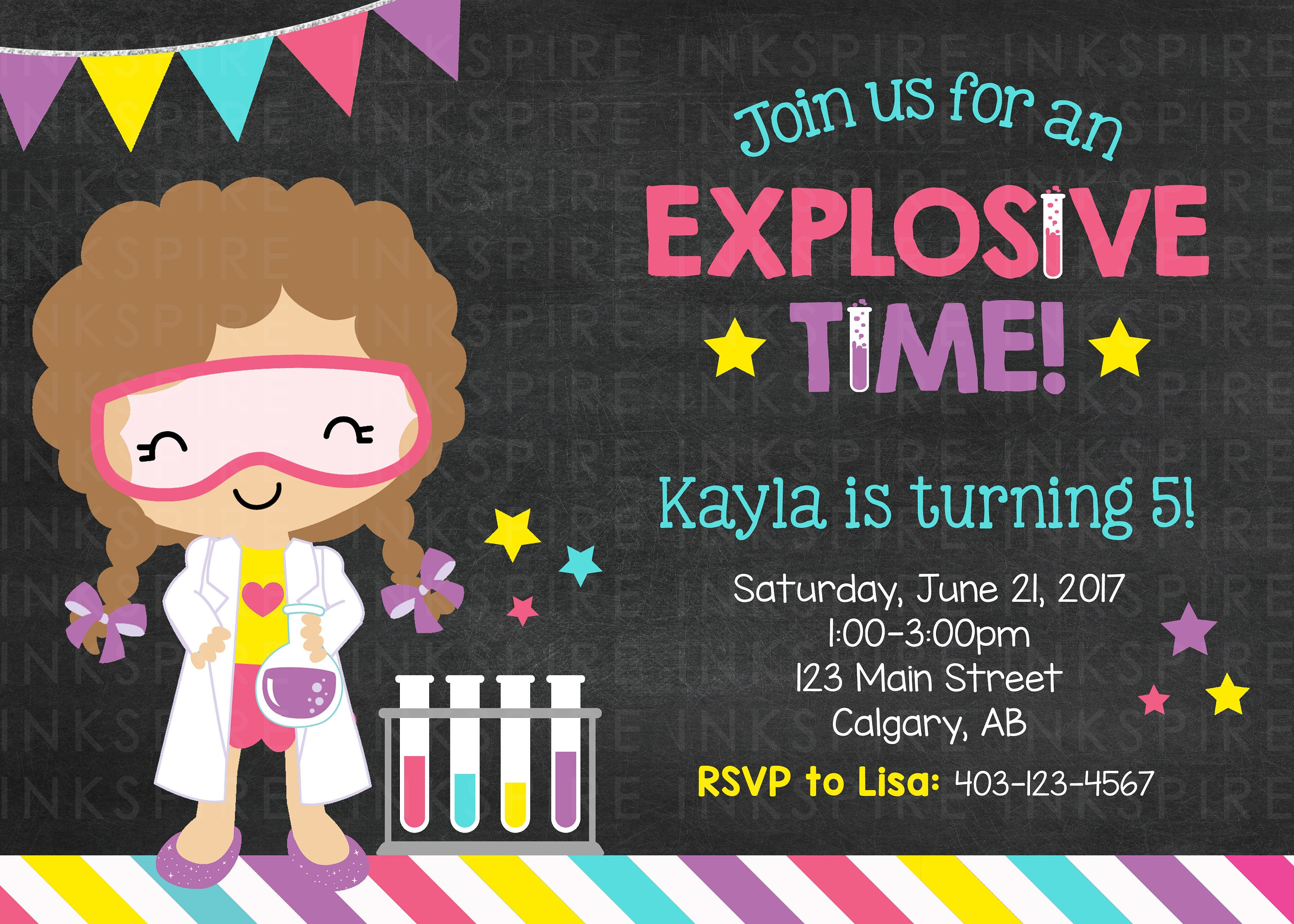 Girl Science Birthday Invitation, Science Party, Science Invite, Mad ...
