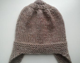 Knitted hat with ears 50-52, height 20 cm