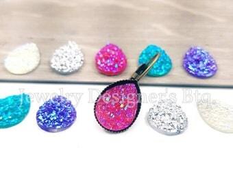 20pcs 14mm x 10mm Assorted Pack Faux Druzy Teardrop Resin Cabochons - Iridescent Rainbow Colors - Druzies Cabochon - Opal Lavender Blue Pink
