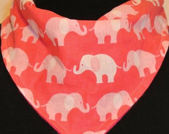 Pink and White Elephant Print Bandanna Bib