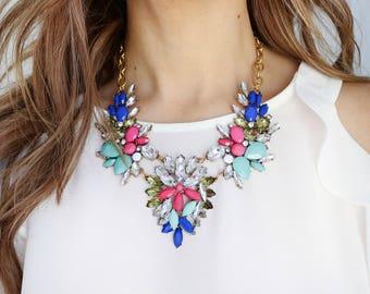 Statement Necklaces, Statement Necklace, Colorful Statement Necklace, Colorful Necklace, Colorful Jewelry, Bold Necklace, Floral Necklace