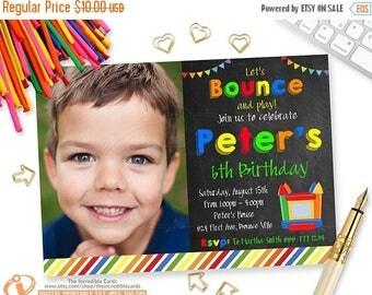 50% OFF SALE Bounce House, Boy Bounce House Invitation, Jump Party, Photo invitation, Bounce House Birthday Party, Jump Birthday Party, Prin