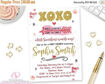 ON SALE Valentine Baby Shower Invitation, XOXO Baby Shower, Printable Valentines Day Baby Shower Invitation, Pink and Gold, Watercolor, Prin