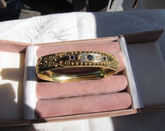 Antique Victorian 15 Kt. Gold Diamond and Sapphire Bracelet. C.1860