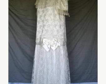 On Sale 1920's Inspired Ivory Lace Wedding Dress Mother of the Bride Formal