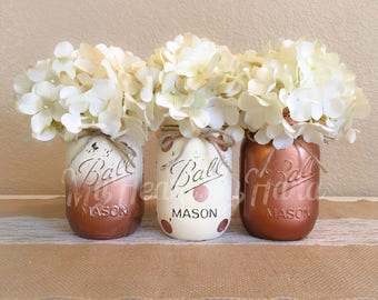 Ivory and Rose Gold Mason Jar Centerpieces, Baby Shower Mason Jars, Mason Jar Decor, Painted Ball Jars, Polka Dots, Rustic Decor