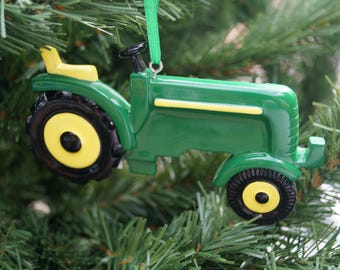 Personalised Christmas decoration, Childs tractor decoration, personalised tractor decoration, childs christmas decoration, green tractor
