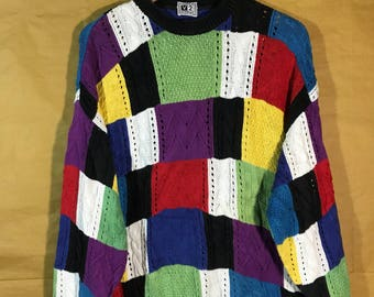 Rare V2 Versace Classic Multicolor Color Block Knit Sweater Hip Hop Mens Womes Adult Clothing