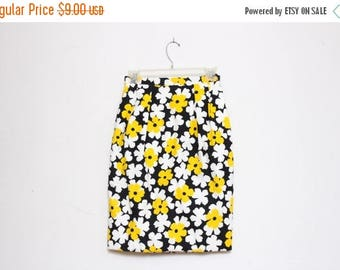 25% OFF VTG 80s Black White Yellow Flower High Waist Skirt S