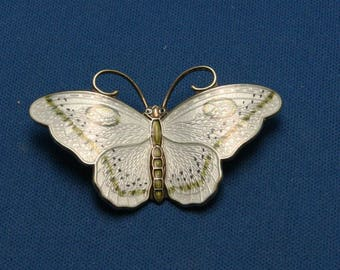 Vintage Hans Myhre Norway Sterling Guilloche Enamel Butterfly Pin Brooch