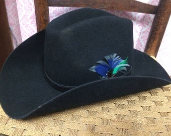 Fedora Hat, Cowboy Hat, Black Hat, Feather Detail, French Made, Wool Felt, Crambes Hat, Gift for Him, Valentines Gift