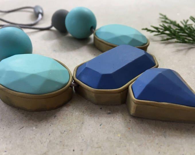 CLEARANCE ICEBURG BIB// Geometric blue scale polymer clay statement necklace//  Handmade polymer clay large gemstone bib necklace// #SN3044
