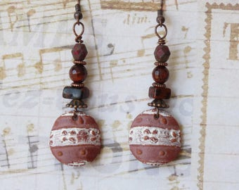 Rustic Boho Earrings, Earthy Earrings, Dangle Earrings, Bohemian Earrings, Tribal Ethnic African Brown, Handmade Jewelry, Womens Gift