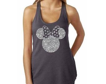 Free Shipping Till August/Glitter Disney Tank Tops/Disney Shirt/Minnie Ears Shirt/ Disney Family Shirts I Disney Princess I Minnie Mouse Bow