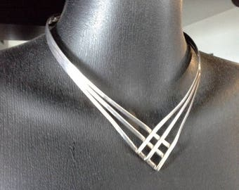 Vintage Modernist Sterling Silver 925 Collar Cuff Choker Necklace Artisan Jewellery