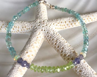 Dainty Aquamarine, Ethiopian Opal, Iolite, and Peridot Beaded Stacking Bracelet