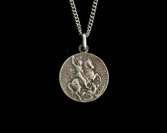 antique french saint george slaying the dragon amulet medallion