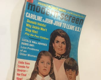 1969 Modern Screen Magazine - Jackie O / Kennedy Vintage - Lucille Ball