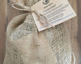 Soap Nuts 250g Organic Natural Laundry Detergent Non Toxic Biodegradeable Eco Friendly Washing in Handmade Hessian Bag Mini Washbag Included
