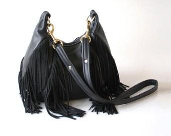 Fringe Leather Bag - OPELLE Nautilus Bag - Soft Pebbled Leather w Fringe in Black