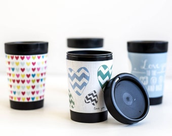 Re-useable Coffee Cup | Three Designs | BPA Free | Enviromentally Friendly | Recyclable | Toodles Noodles