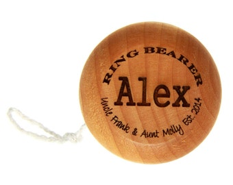 Wedding Party, Ring Bearer Gift Monogrammed Personalized Classic Wooden Yo-Yo Wood Toy