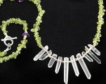 Natural Clear Quartz Crystal Peridot necklace | Beaded Peridot stone necklace | Peridot bead necklace | Peridot birthstone | Peridot jewelry