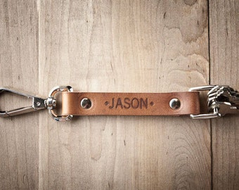 Personalized Leather Keychain, Engraved keychain, Personalized leather key fob  008