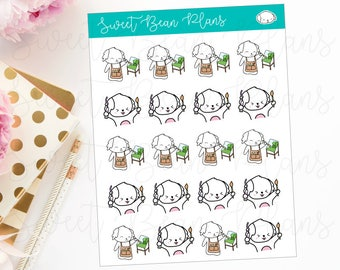 Painting/Artist Bean Doodle Hand Drawn Kawaii Puppy Planner Stickers
