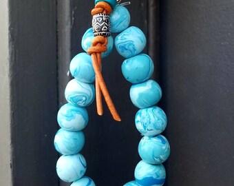 Handmade Keychain Bracelet, Light Blue Swirled Beaded Wristlet