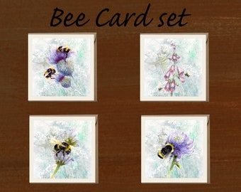 Bees and Flowers card set
