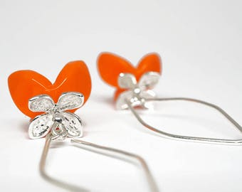 EARRINGS Orange Tulip and lilac in Solid Sterling Silver. Floral, feminine, chic and classy, modern, contemporary jewelry. One of a kind