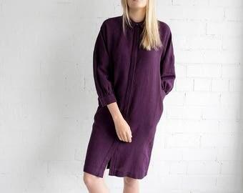 Linen Dress Motumo – 17S12 / Handmade linen summer dress / shirts with 3/4 sleeves / Washed linen dress