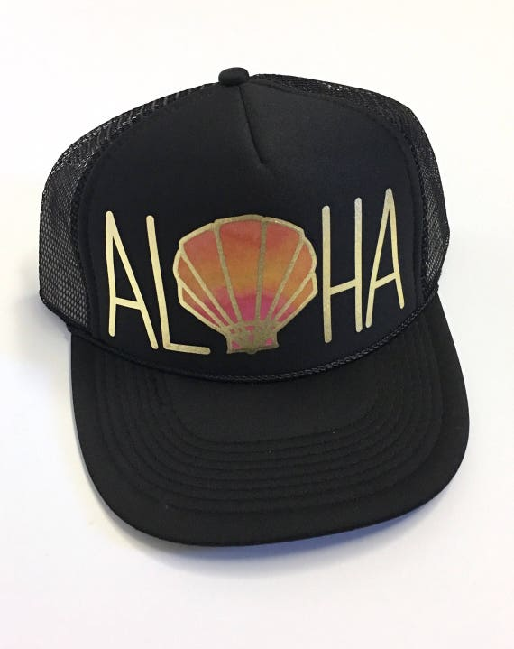 Sunrise Aloha Trucker Hat| Aloha Hat| Hawaii Hat|Pineapple | Trucker Hat|Beach Hat|Black-Gold Vinyl Print