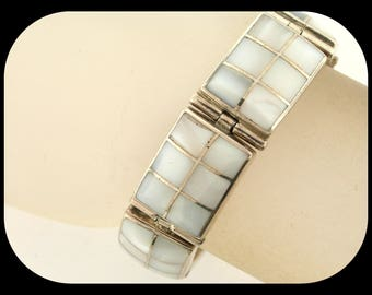 Heavy & Wide TM-152 MEXICO 950 Sterling Silver Mother of Pearl Hinged Link Bracelet