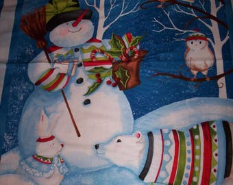 1 panel Snowy Friends by Nancy Mink for Wilmington Prints snowman candy canes and friends blue