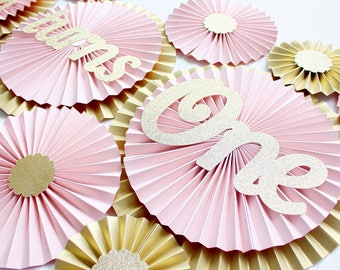Princess Party Decorations - Pink and Gold First Birthday Decorations - Blush Paper Fans - Blush and Gold Party - First Birthday Decoration