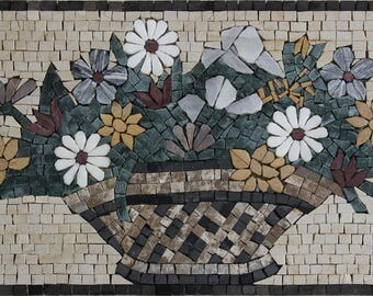 "Flower Basket Fresh New Colorful Wall Decor 24""x12"" Marble Mosaic KB152"