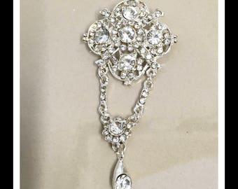 Dangling Vintage Crystal Rhinestone Brooch #B-8