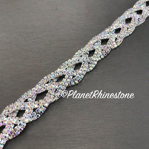 Aurora Borealis (AB) Braided Crystal Trim  #T-A