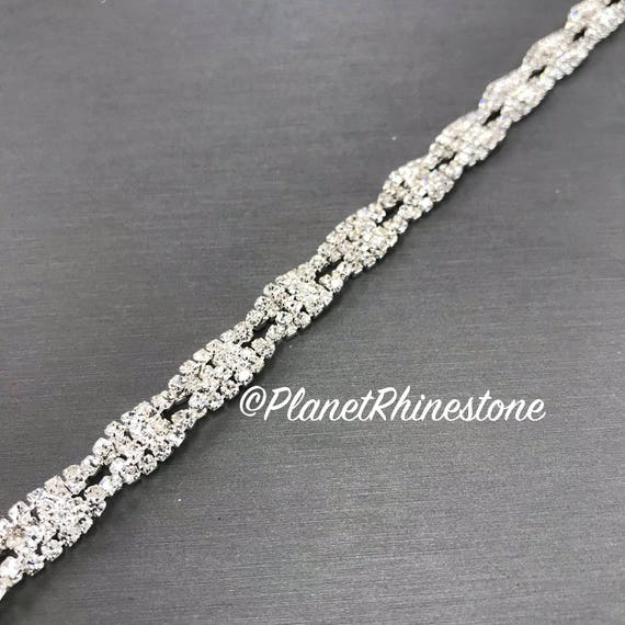 Silver Thin Twisted Rhinestone Trim #T-3