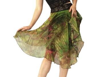 Olive Grotto Chiffon; Circle Tango Skirt; Floating Tango Skirt;Chiffon Dance Skirt