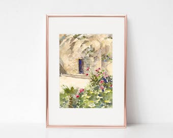 Garden Tomb Il, Garden Tomb Painting Print, Holy Land, Watercolor Painting Print, Bible Places, fine art print, wall art