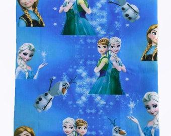 """Tissu Coton imprimé thème """" Frozen / la Reine des Neiges"""""""