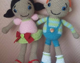 Couple of crocheted dolls, wool katia
