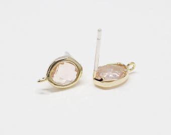 E0170/Anti-Tarnished Gold Plating Over Brass + Glass/Light Peach/Reverse Drop Light Peach Glass Stud Earrings/7x10mm/2pcs