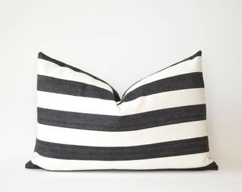 Black and White Stripe Lumbar Pillow Cover