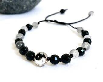Yin Yang Mala Bracelet, Black Onyx, Grey Quartz, Gemstones Bracelet, Yoga Bracelet, Meditation Bracelet, Yoga jewelry, Mens mala bracelet